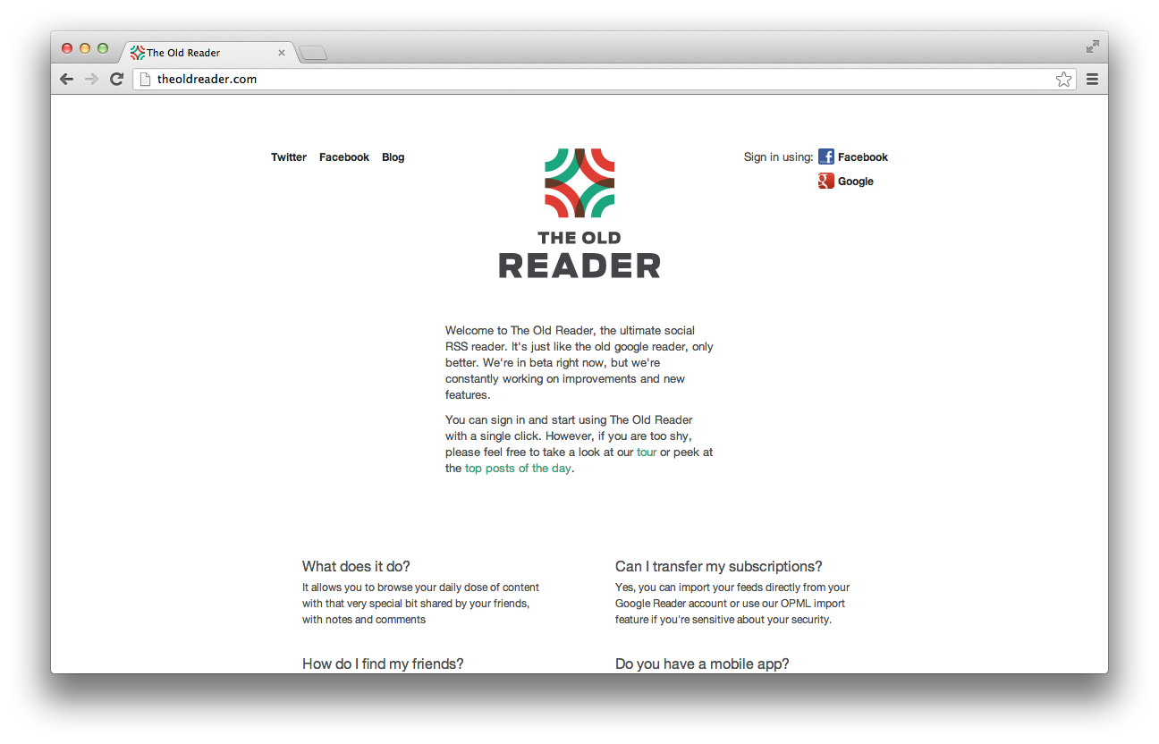 The Old Reader Screen Shot